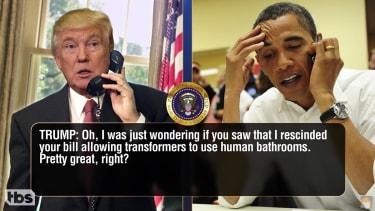 Conan imagines phone chats between President Trump and his predecessor