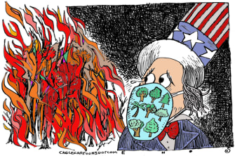 Editorial Cartoon U.S. western wildfires