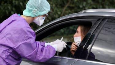 Drive-by coronavirus testing.