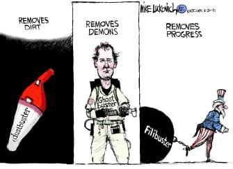 Political Cartoon U.S. filibuster ghostbusters bill murray dustbuster congress