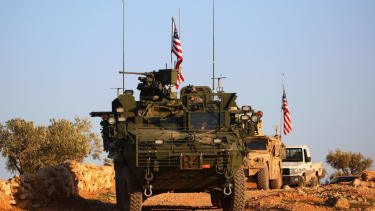 U.S. convoy of armored vehicles in Syria.