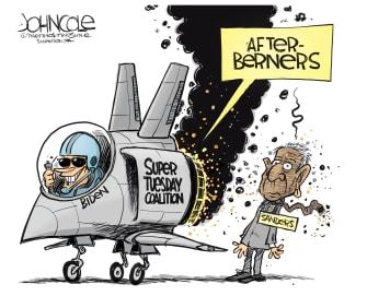 Political Cartoon U.S. Biden berners Bernie Sanders Super Tuesday winner