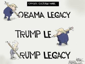Political Cartoon U.S. Biden Trump legacy