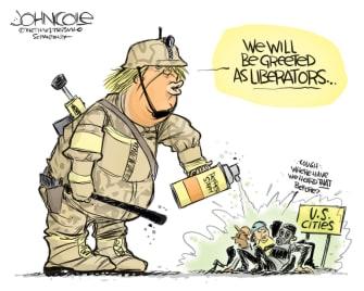Political Cartoon U.S. Trump protesters Portland liberators Iraq