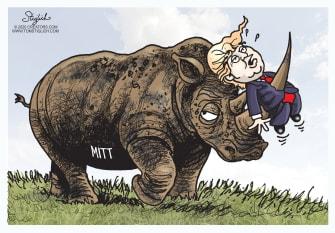 Political Cartoon U.S. Impeachment Rhino Mitt Romney impaling Trump