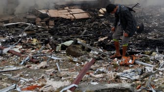 The aftermath of a Saudi-led strike on a funeral in Yemen