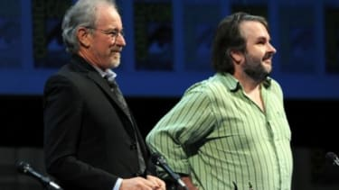 """""""Hobbit"""" director Peter Jackson surprised fans when he appeared at the """"Adventures of Tintin"""" panel alongside Steven Spielberg at Comic-Con this weekend."""