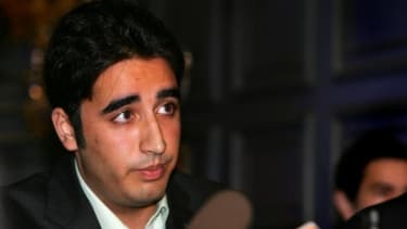 Bilawal Bhutto speaks at a press conference in 2008 in London while he was studying at Oxford University.