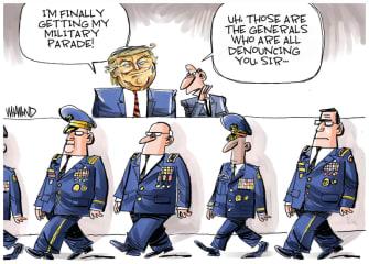 Political Cartoon U.S. Trump military parade Mattis generals