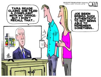 Political Cartoon U.S. Joe Biden Tara Reade