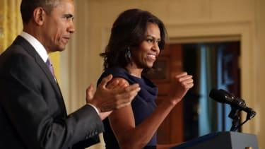 Barack and Michelle Obama speak in Washington, D.C.