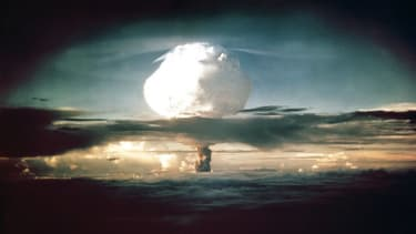 The mushroom cloud from Ivy Mike (codename given to the test) rises above the Pacific Ocean over the Enewetak Atoll in the Marshall Islands on November 1, 1952