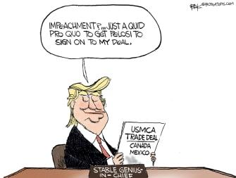 Political Cartoon U.S. Trump Impeachment Pelosi USMCA Deal