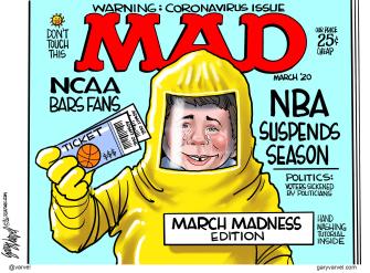 Editorial Cartoon U.S. March Madness NCAA canceled NBA suspends mad magazine coronavirus
