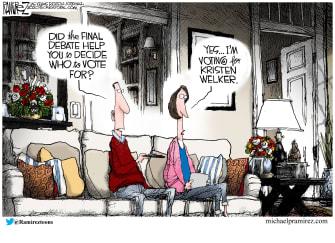 Political Cartoon U.S. 2020 debate Kristen Welker Biden Trump