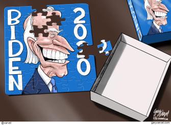Political Cartoon U.S. Joe Biden 2020 Election Puzzle Missing Pieces Brain