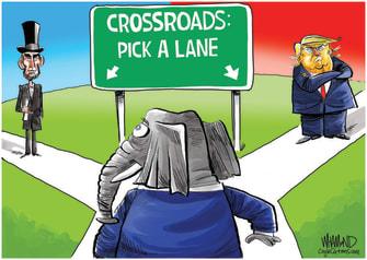 Political Cartoon U.S. GOP crossroads trump lincoln