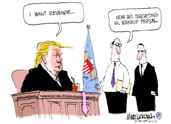 Political Cartoon U.S. Trump spray tan make-up revenge