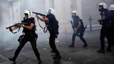 Riot police use tear gas during an anti-government protests at Taksim Square in central Istanbul, May 31.