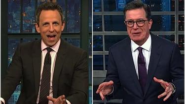 Stephen Colbert and Seth Meyers on Trump versus Nancy