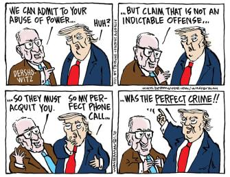 Political Cartoon U.S. Trump Dershowitz impeachment Senate crime