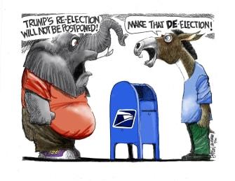 Political Cartoon U.S. Trump mail in voting GOP Democrats
