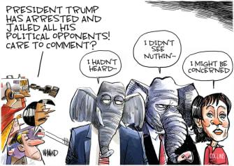 Political Cartoon U.S. Trump GOP Susan Collins jail enemies