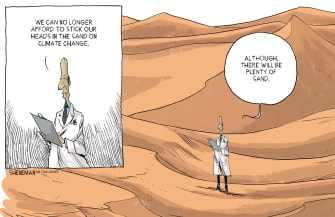 Editorial Cartoon U.S. Head In Sand On Climate Change
