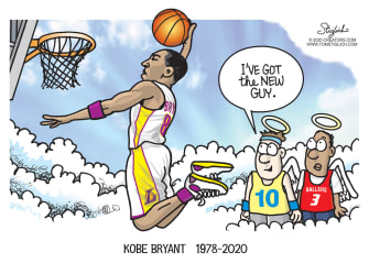Editorial Cartoon U.S. Kobe Bryant RIP heaven