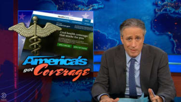 The Daily Show gives two cheers for the ObamaCare enrollment success