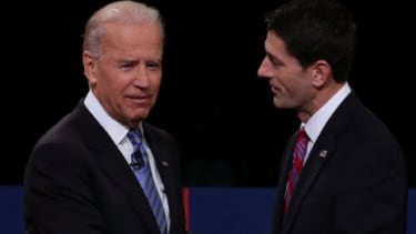 Vice President Joe Biden and Republican vice presidential candidate Rep. Paul Ryan (R-Wis.) shake hands after their debate: Though most people believe Biden dominated the conversation, there
