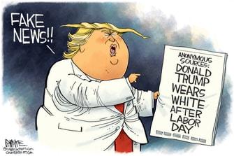 Political Cartoon U.S. Trump fake news