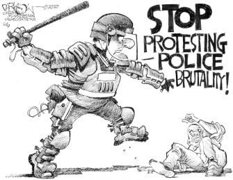 Editorial Cartoon U.S. police brutality George Floyd protests