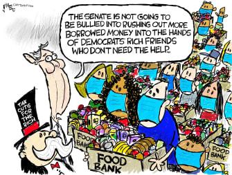 Political Cartoon U.S. McConnell senate COVID stimulus