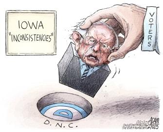 Political Cartoon U.S. Sanders Iowa DNC voter fit