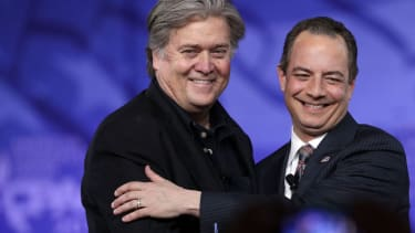 Stephen Bannon and Reince Priebus, frenemies