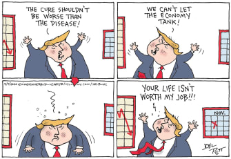 Political Cartoon U.S. Trump coronavirus strategy meltdown reelection 2020