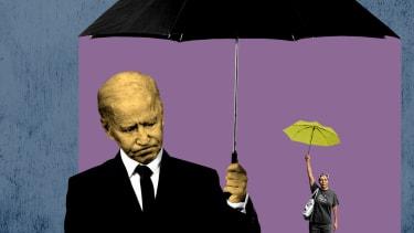 President Biden and a protester.