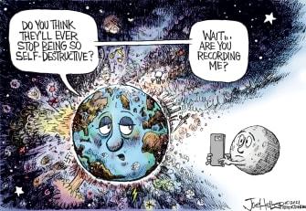 Editorial Cartoon U.S. chaos video