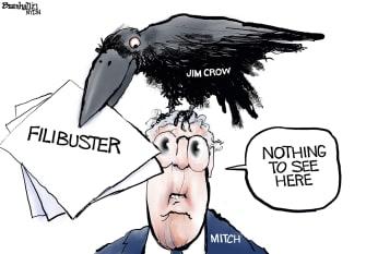 Political Cartoon U.S. mcconnell filibuster jim crow