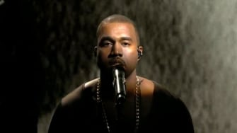 Kanye West performing his new single 'New Slaves' on SNL.