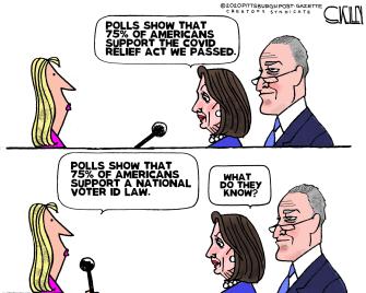 Political Cartoon U.S. pelosi schumer covid relief voter id