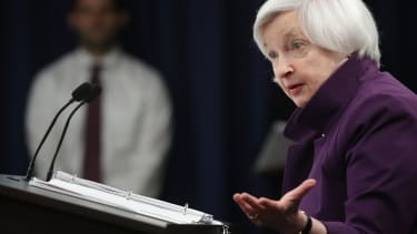 Janet Yellen speaks during a news conference