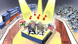 Political Cartoon U.S. Trump Modi India visit inequality poverty walls