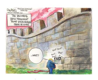 Political Cartoon U.S. Trump China bank account