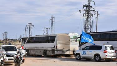 A UN vehicle near Aleppo, Syria