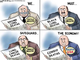 Political Cartoon U.S. reopen the economy risks history coronavirus