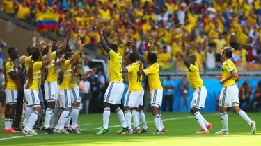 Colombia's entire team joins in rollicking, celebratory World Cup dance