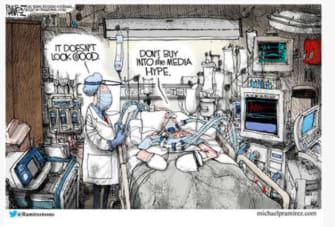 Editorial Cartoon U.S. critical condition doctors diagnosis media hype