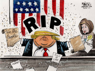 Political Cartoons U.S. Trump Pelosi ripped constitution speech